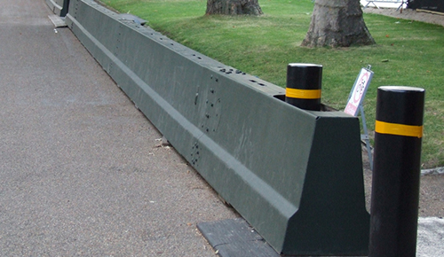 Bollards integrated into SecureGuard perimeter